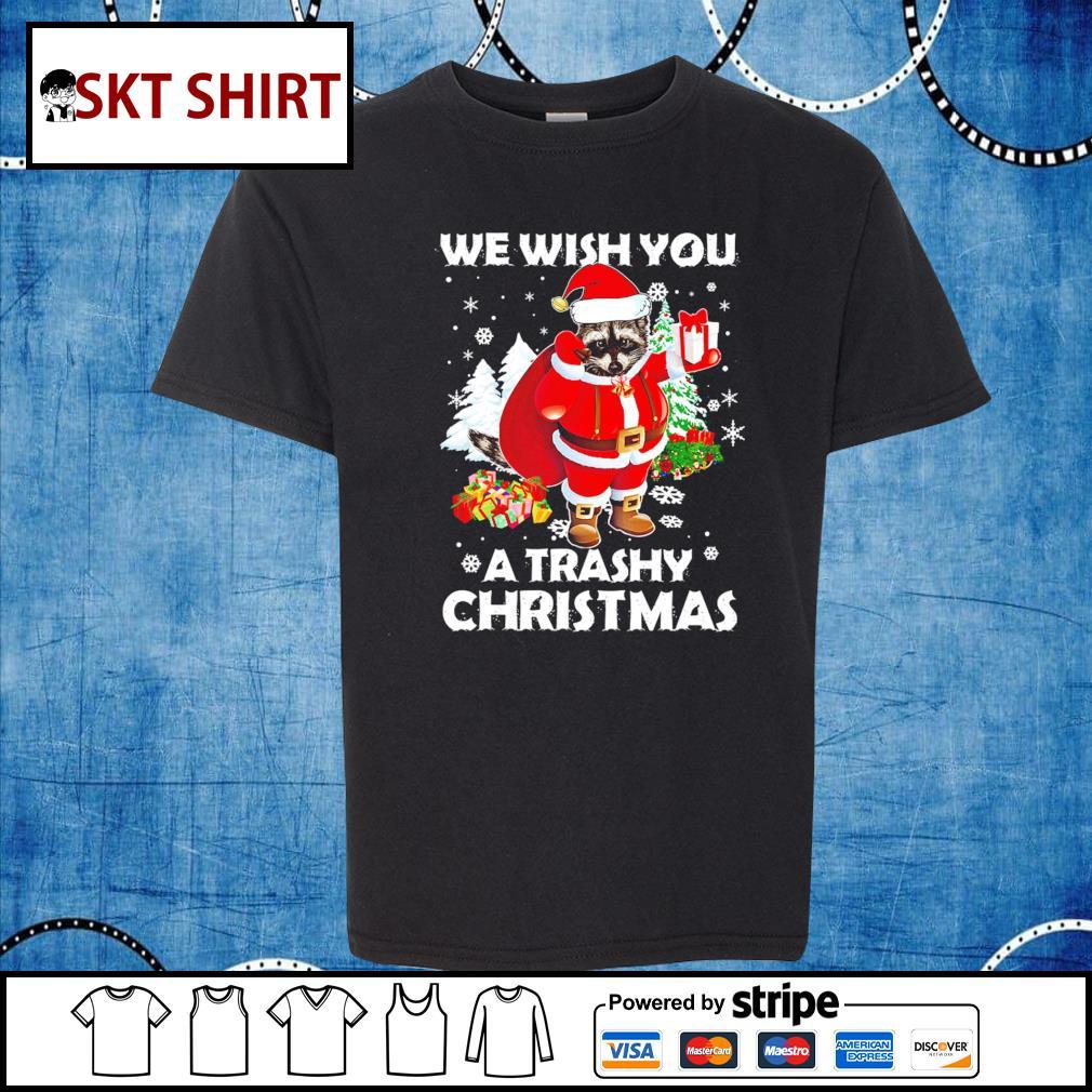 Raccoon we wish you a trashy Christmas shirt, sweater kid-shirt