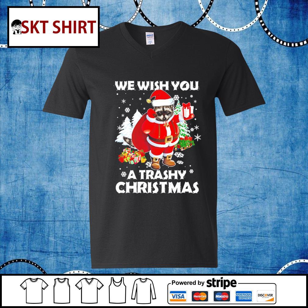 Raccoon we wish you a trashy Christmas shirt, sweater v-neck-t-shirt