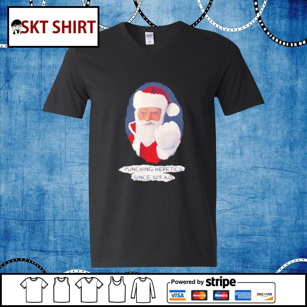 Santa Punching Heretics shirt, sweater v-neck-t-shirt