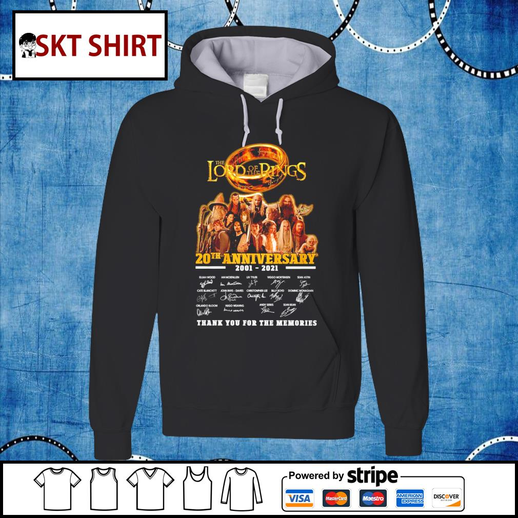 The Lord of the Rings 20th anniversary 2001-2021 thank you for the memories s hoodie