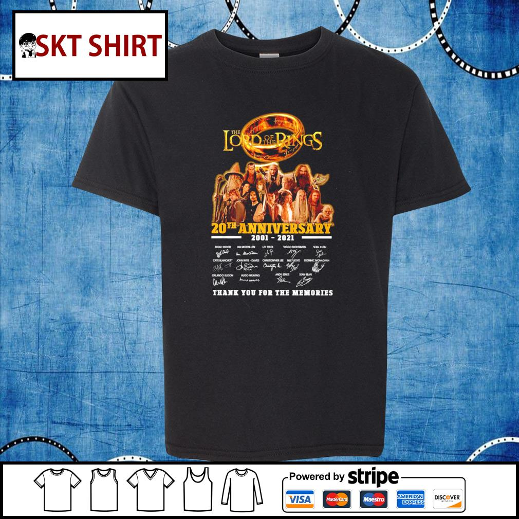 The Lord of the Rings 20th anniversary 2001-2021 thank you for the memories s kid-shirt