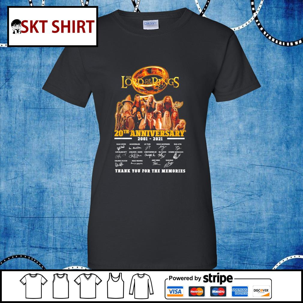 The Lord of the Rings 20th anniversary 2001-2021 thank you for the memories s ladies-tee