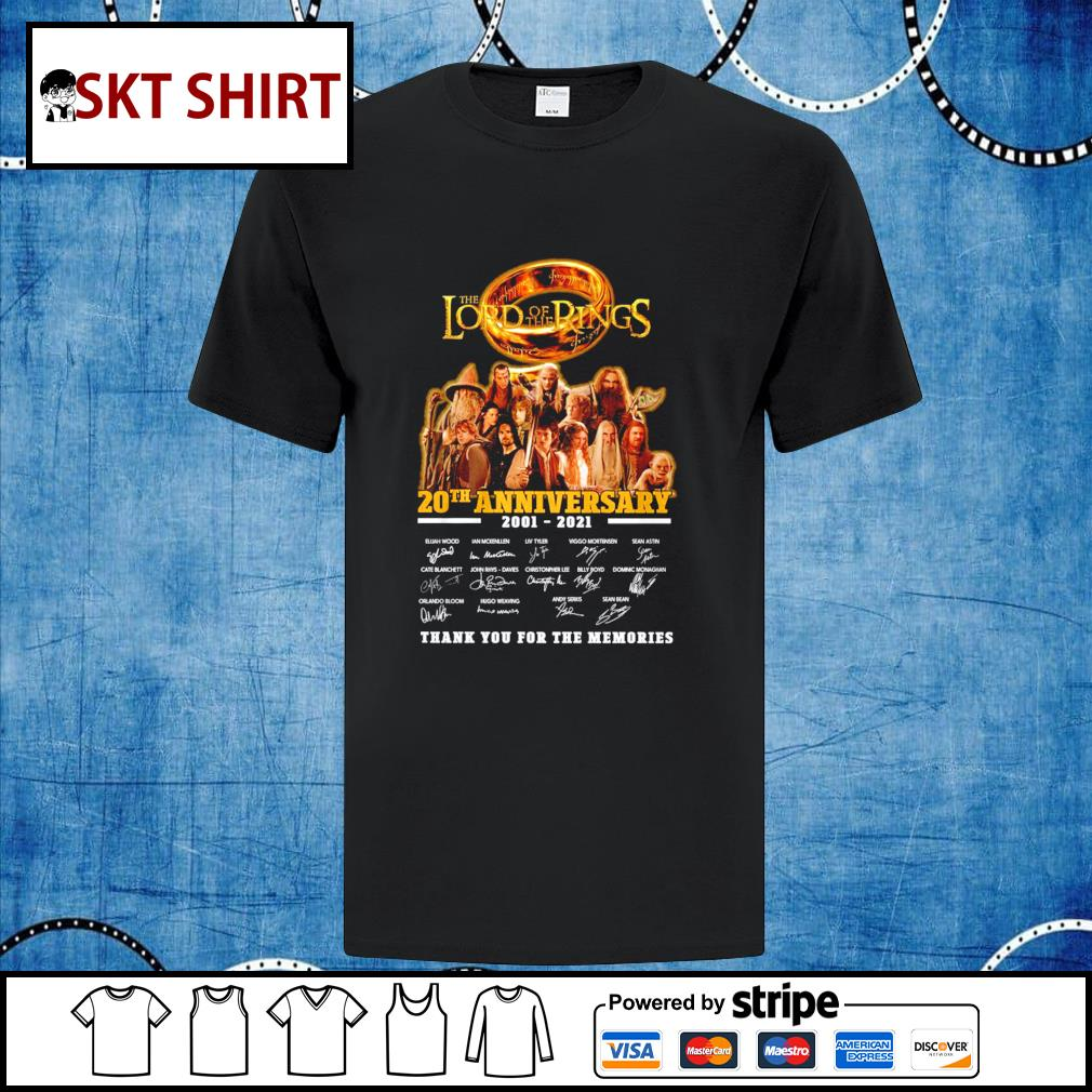 The Lord of the Rings 20th anniversary 2001-2021 thank you for the memories shirt