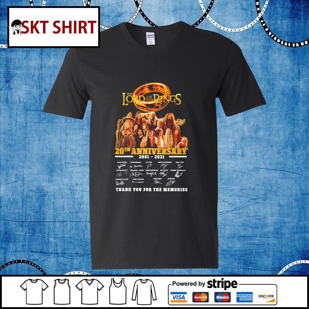 The Lord of the Rings 20th anniversary 2001-2021 thank you for the memories s v-neck-t-shirt